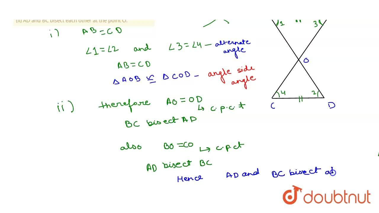 Solution for In the adjoining figure, AB = CD and AB||CD prove
