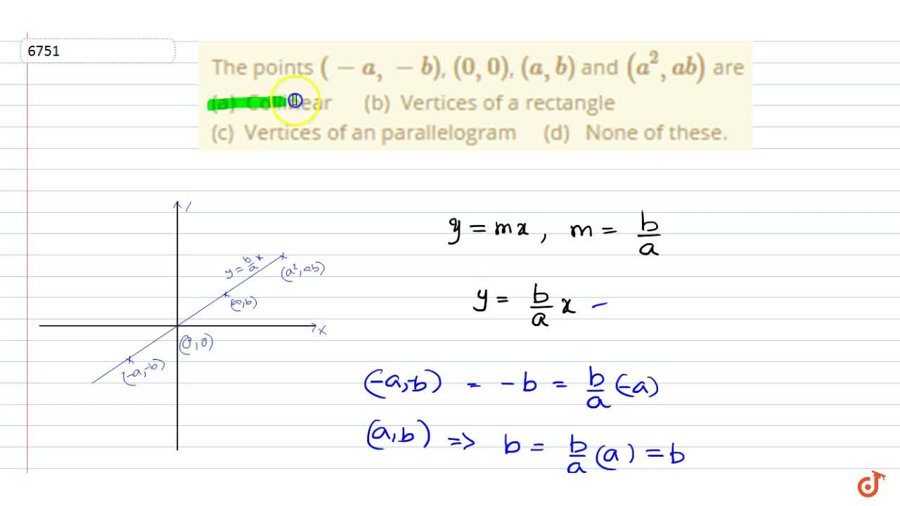 Solution for The points (-a, -b), (0, 0), (a, b) and (a^