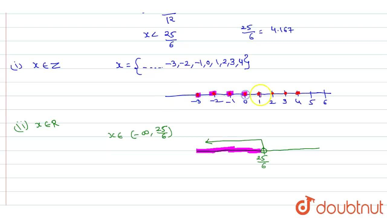 Solve the inequation 12x  lt 50    If   (i) x in Z   (ii)  x in R and represent the solution on the number line