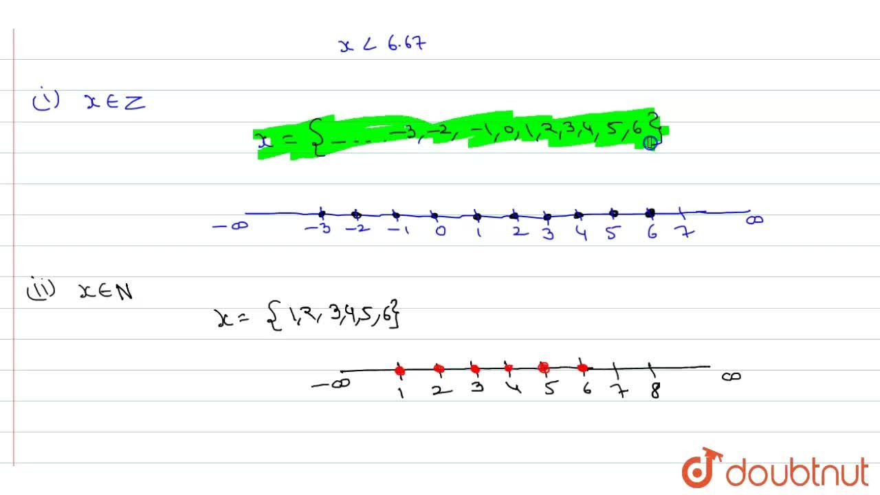Solve the inequation 30x lt 200     If      (i)   x in Z    (ii) x in N  and represent the solution on the number line