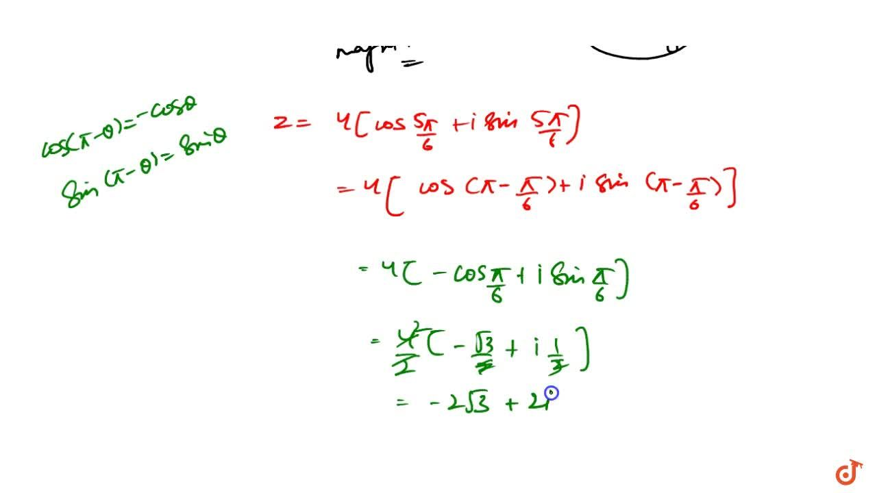 Solution for If z is a complex number such that |z|=4 and