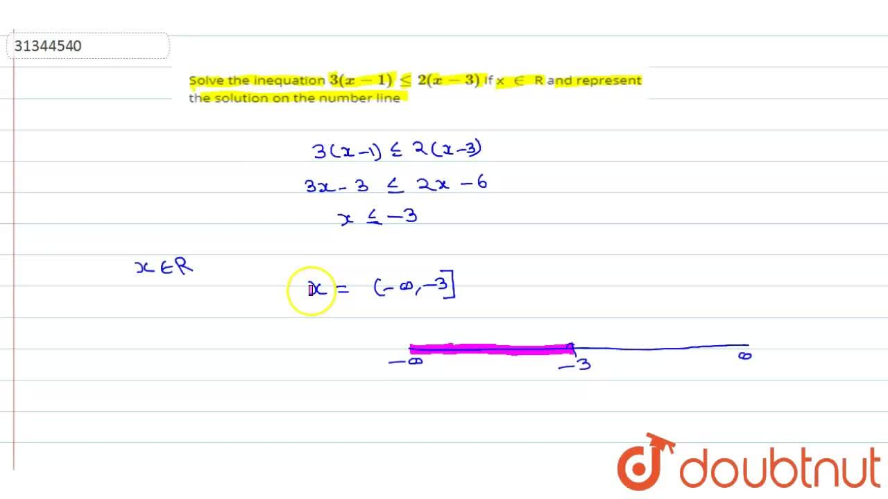 Solve the inequation 3(x-1)  le 2  (x -3)     If   x in R and represent the solution on the number line