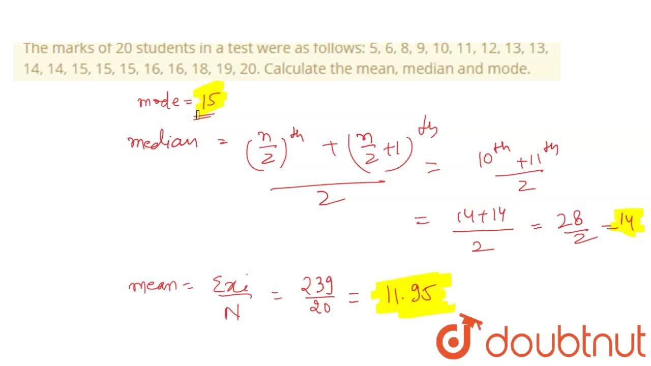 Solution for The marks of 20 students in a test were as follows