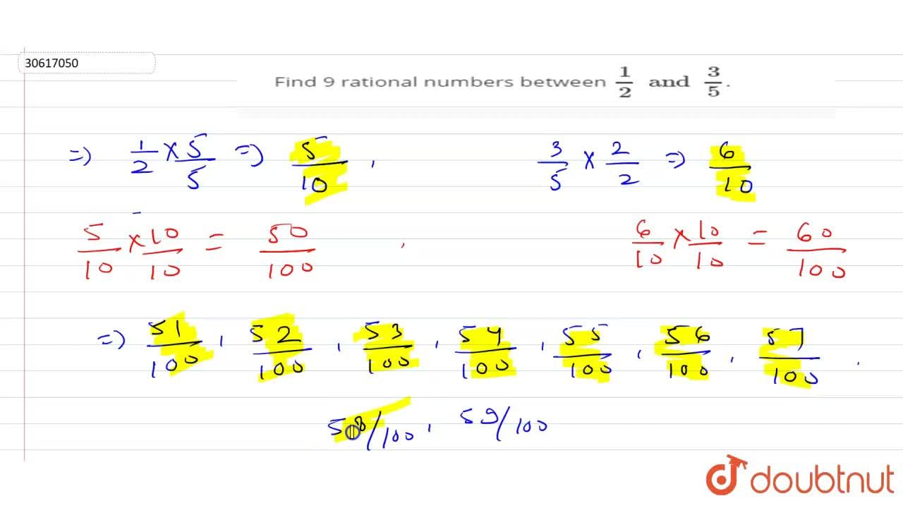 Find 9 rational numbers between (1),(2)and(3),(5).