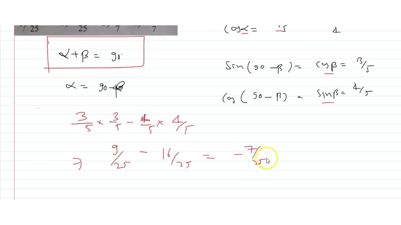 Solution for  If  alpha, beta are complementary angles and