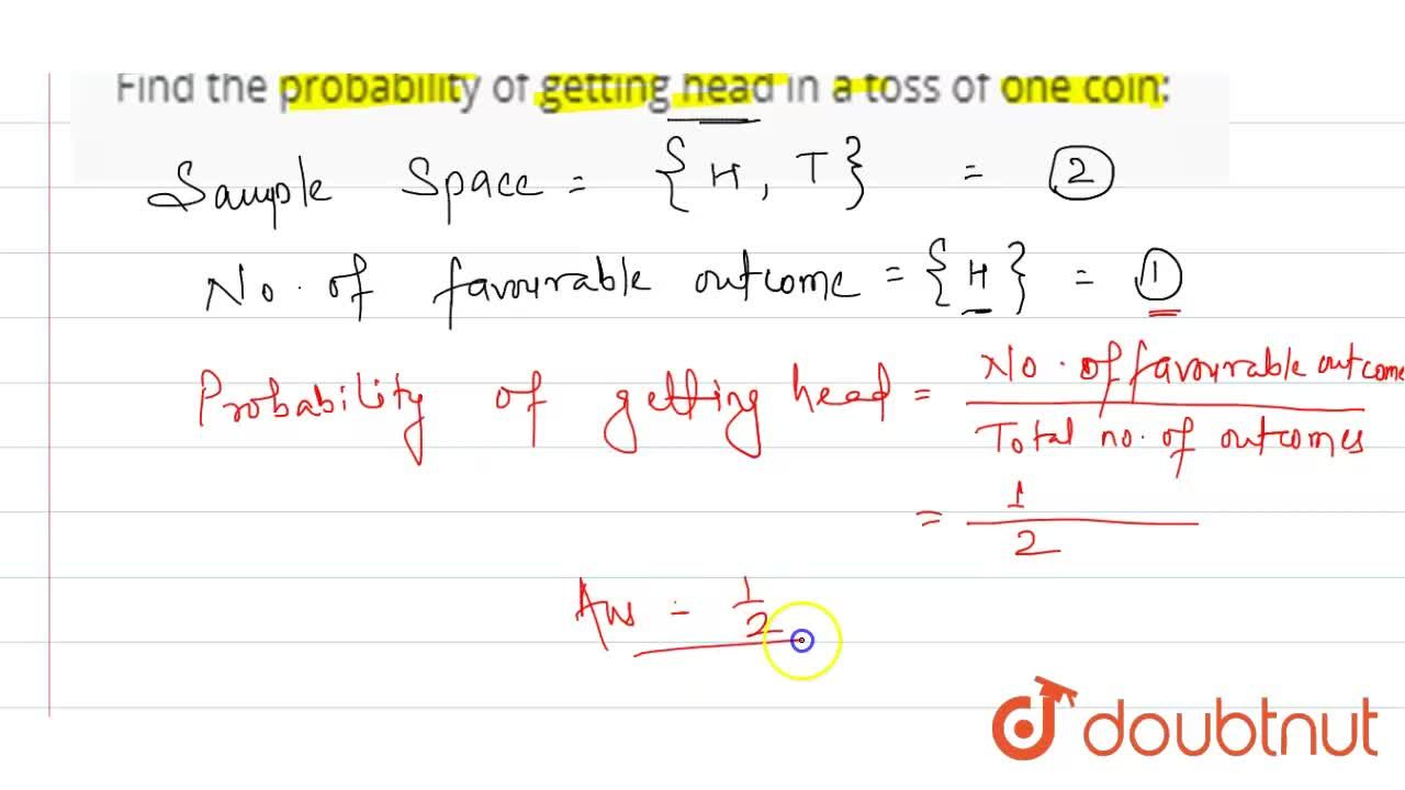 Solution for Find the probability of getting head in a toss of
