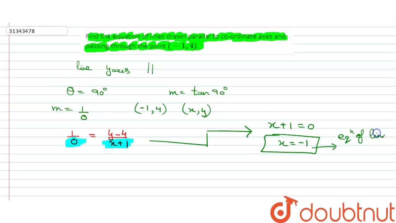 Solution for Find the equation of lines drawn parallel to co-or