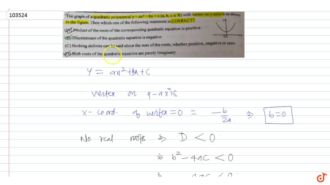 Solution for   The graph of a quadratic polynomial y= ax^2+ bx