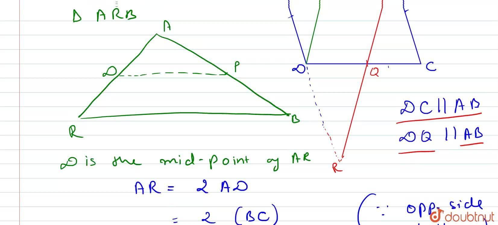 Solution for P is the mid-point of side AB of parallelogram ABC
