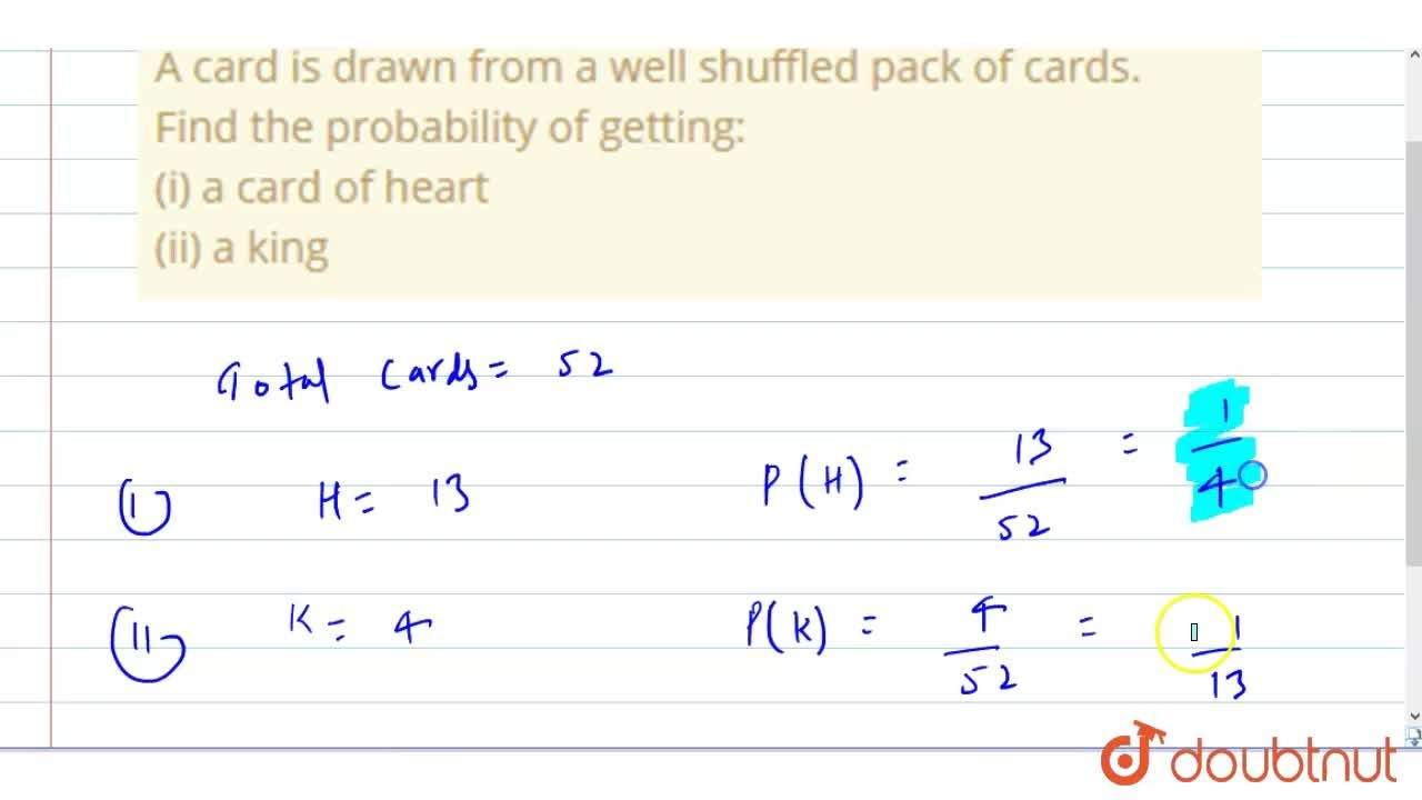 Solution for A card is drawn from a well shuffled pack of cards