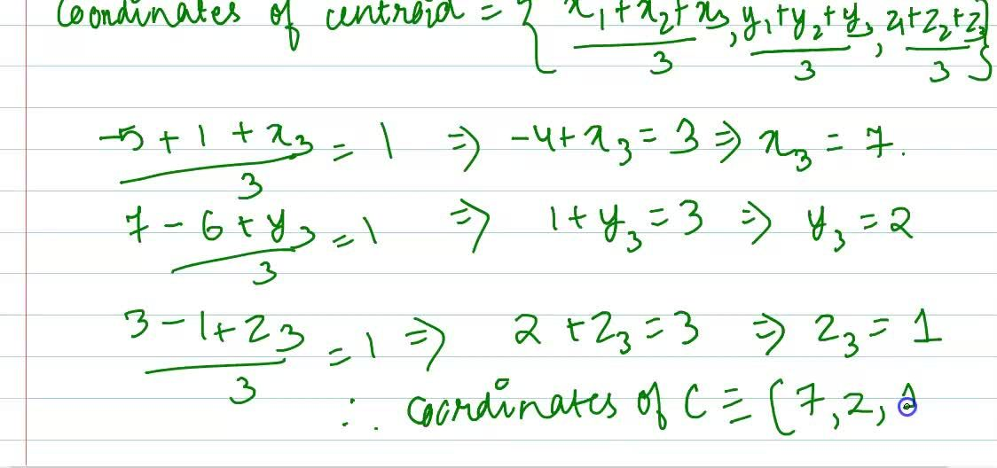 Solution for The co-ordinates of two vertices of Delta ABC ar