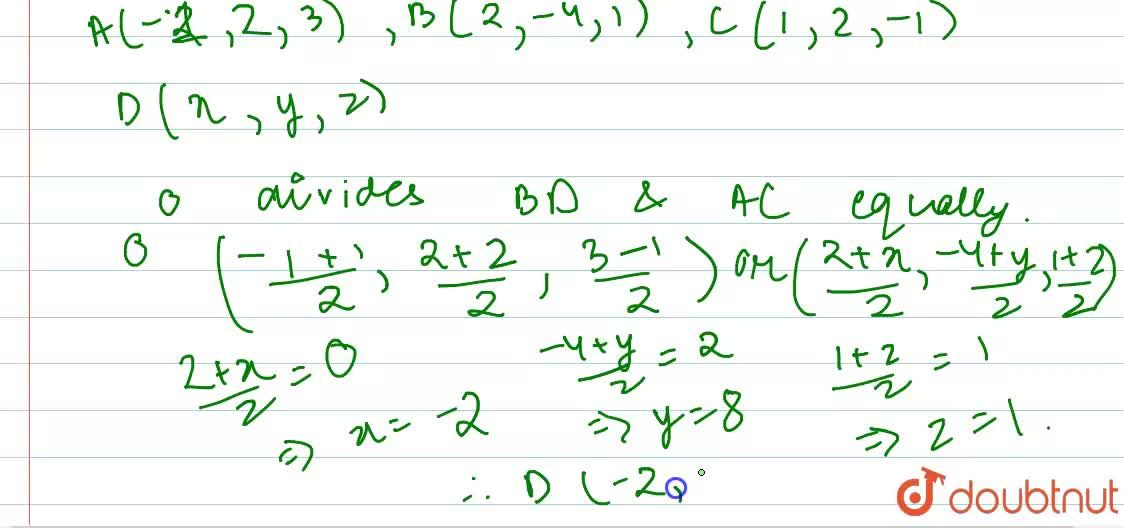 Solution for The three vertices of a parallelogram ABCD are A(-
