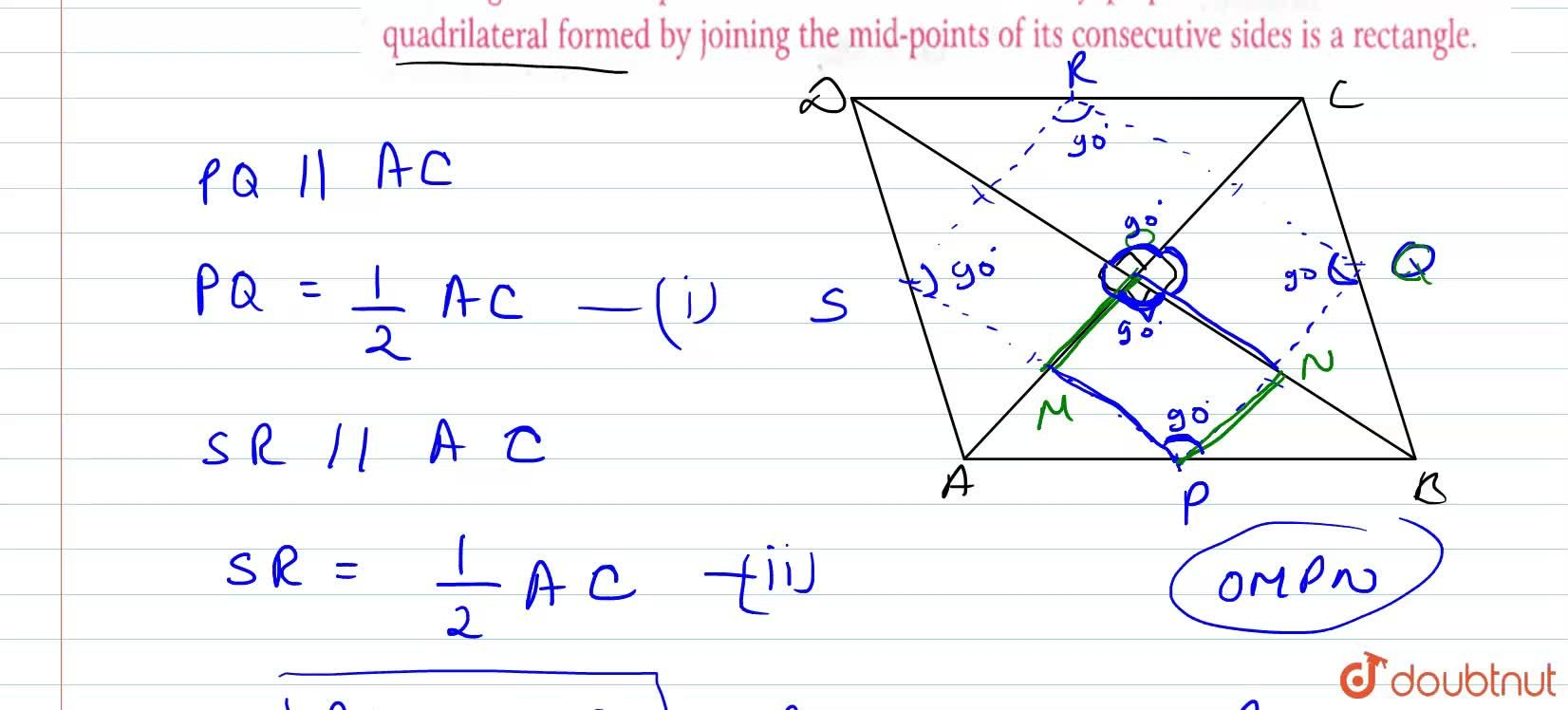 Solution for The diagonals of a quadrilateral ABCD are mutually