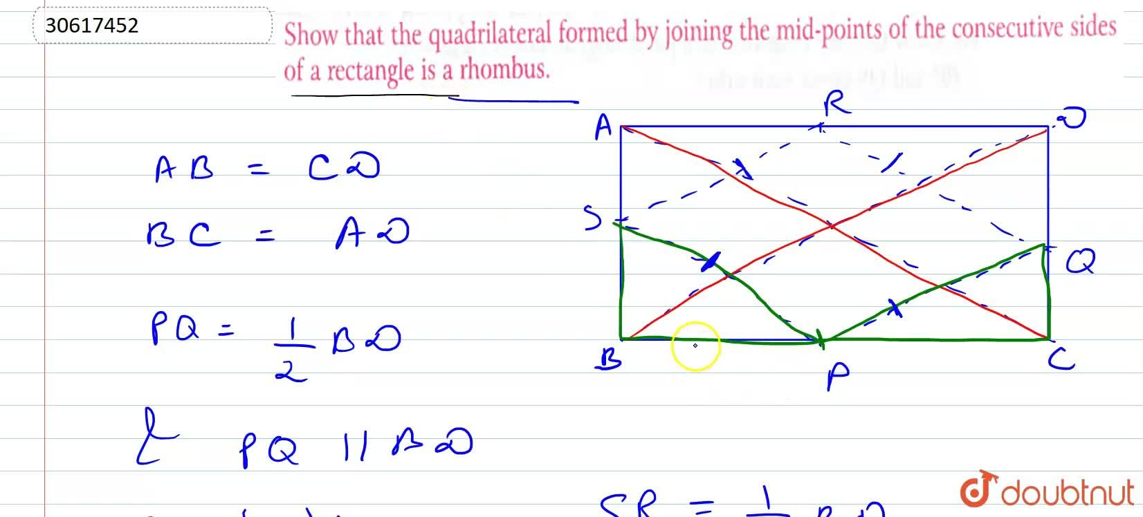 Show that the quadrilateral formed by joining the mid-points of the consecutive sides of a rectangle is a rhombus.