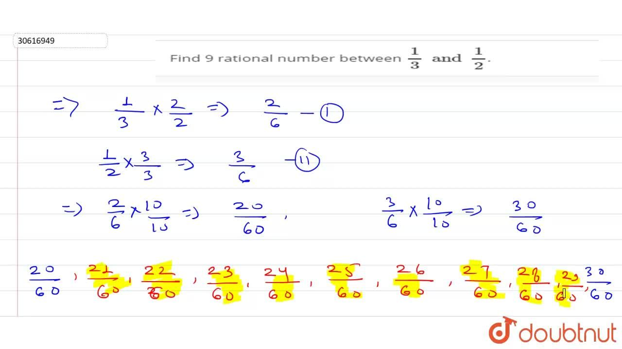 Find 9 rational number between (1),(3)and(1),(2).