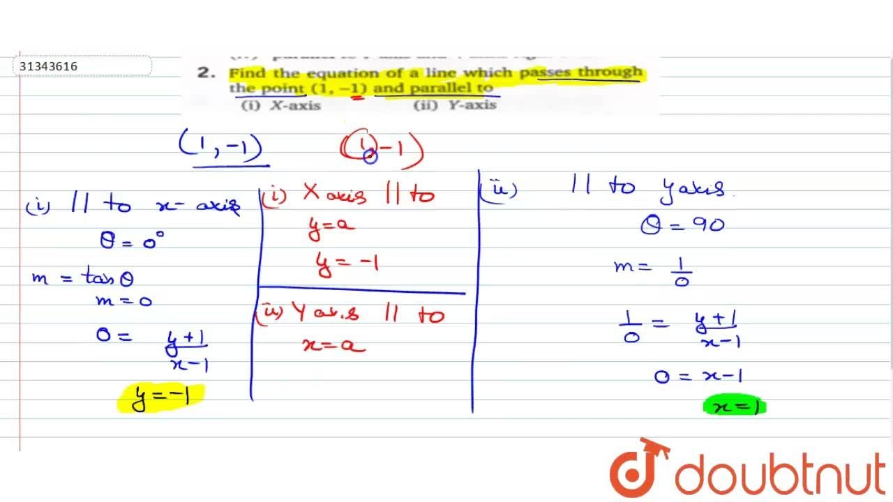 Solution for Find the equation of a line which pasess through t