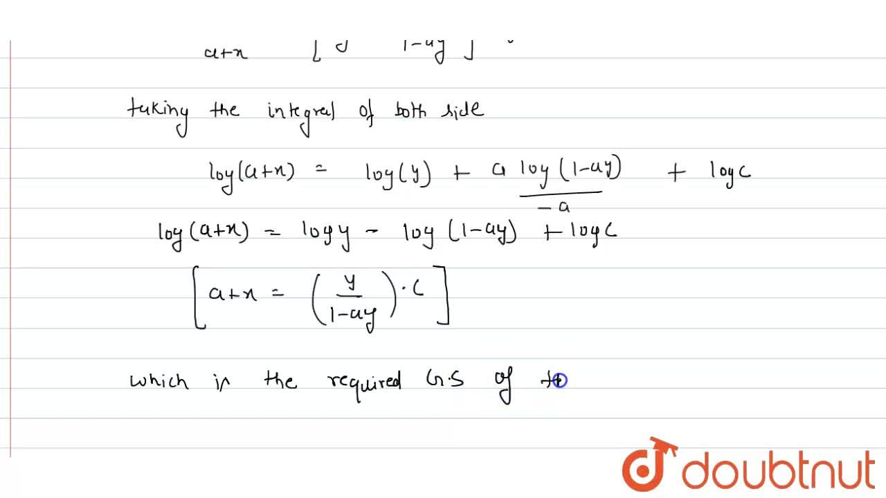 Solution for Solve the differential equation y-x(dy),(dx)=a(y^