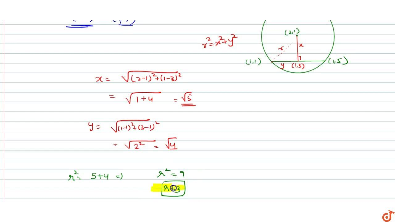 Solution for The radius of the circle, having centre at (2, 1)