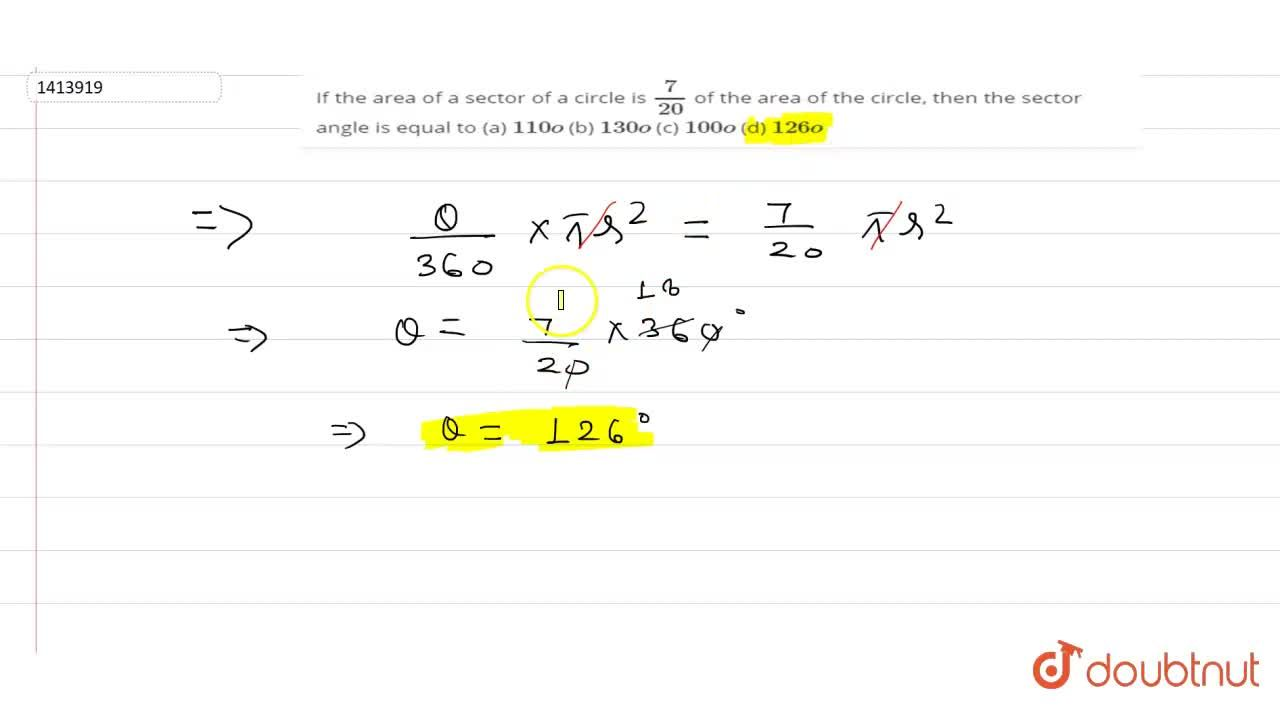 Solution for If the area of a sector of a circle is 7,(20) of