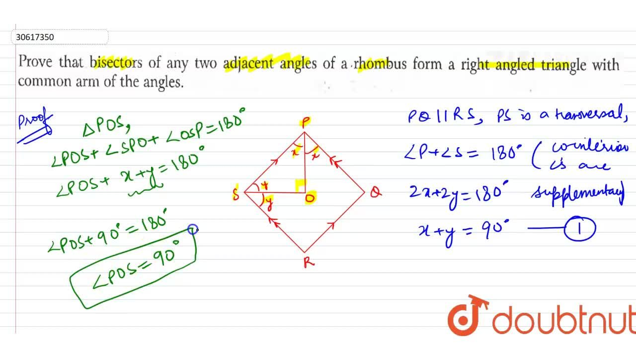 Solution for Prove that bisectors of any two adjacent angles of