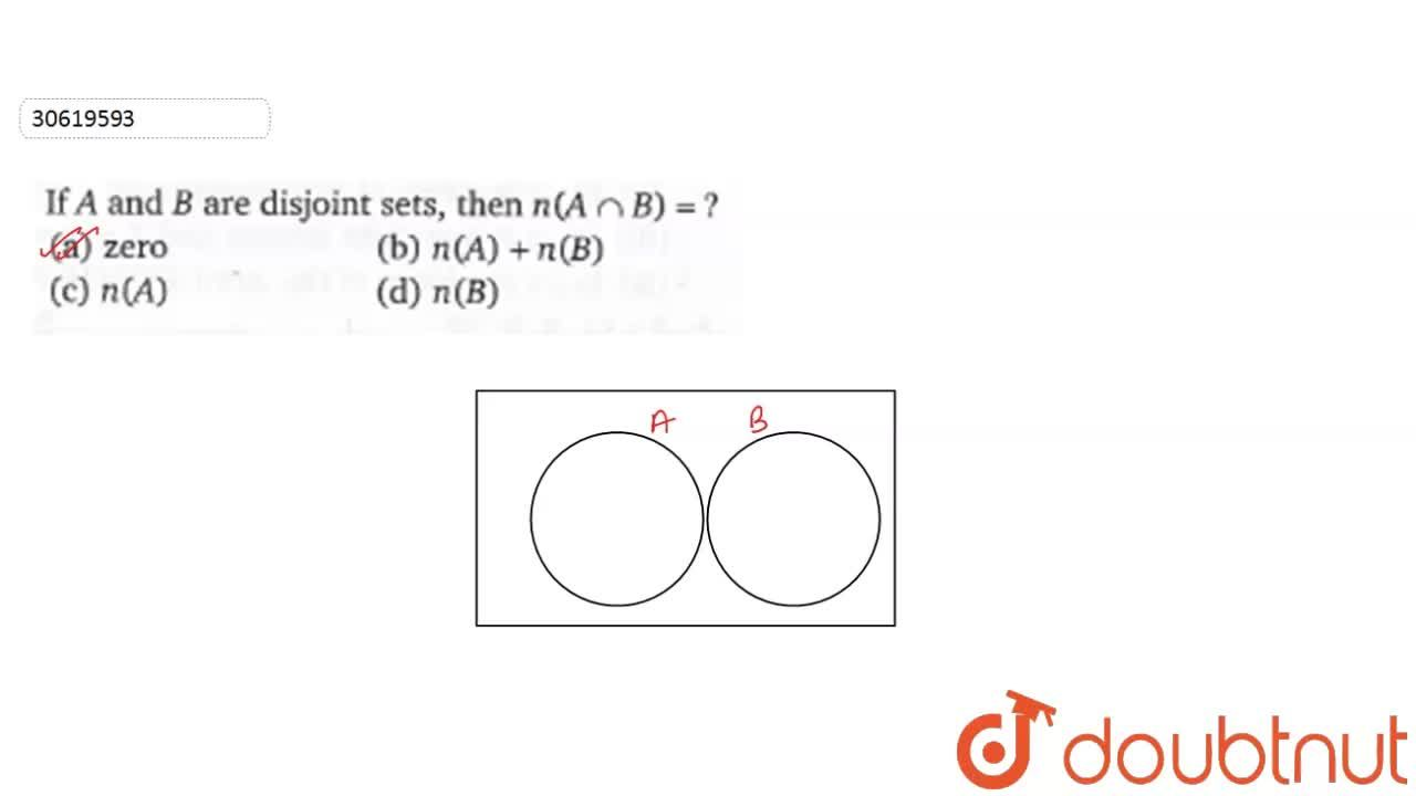 Solution for If A and B are disjoint sets, then n(A cap B)