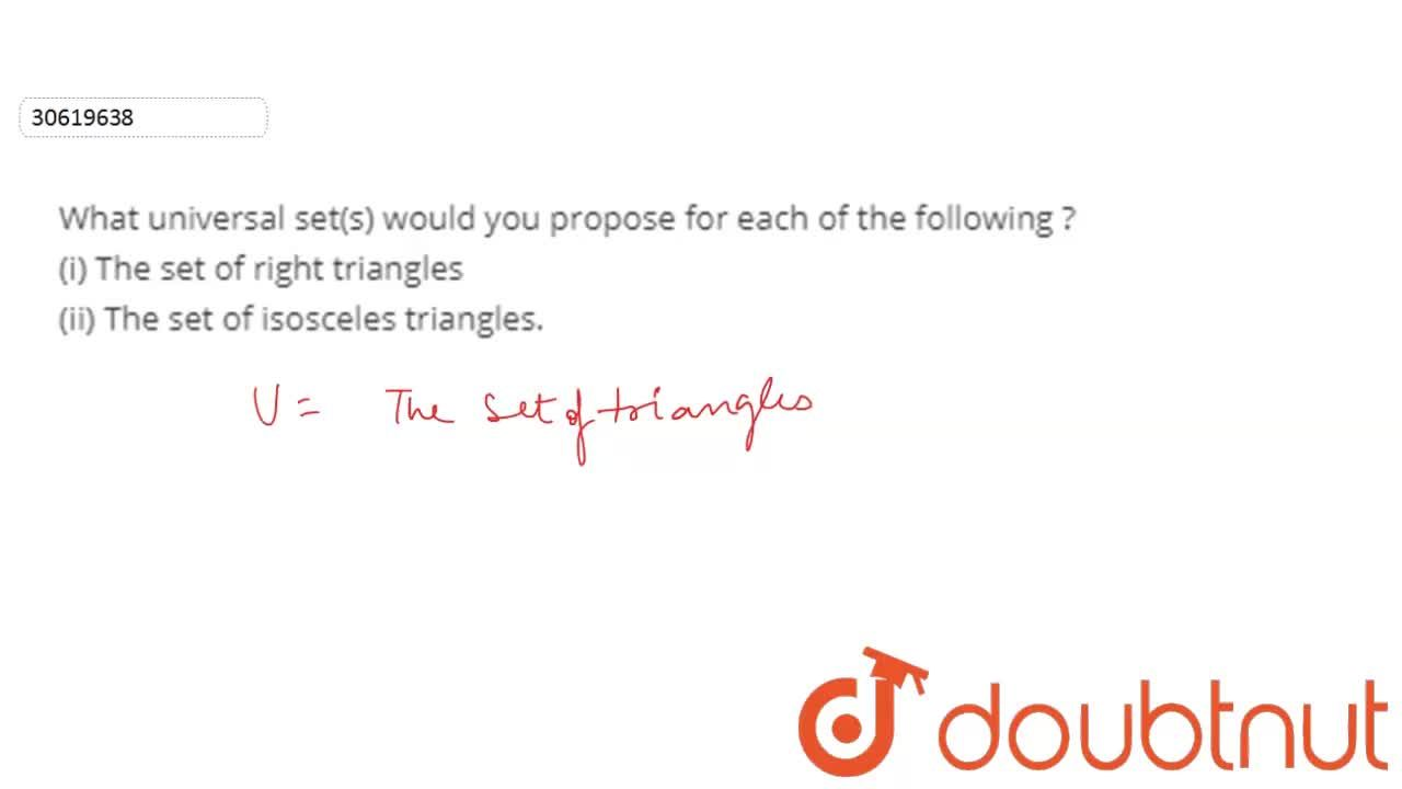 Solution for What universal set(s) would you propose for each o
