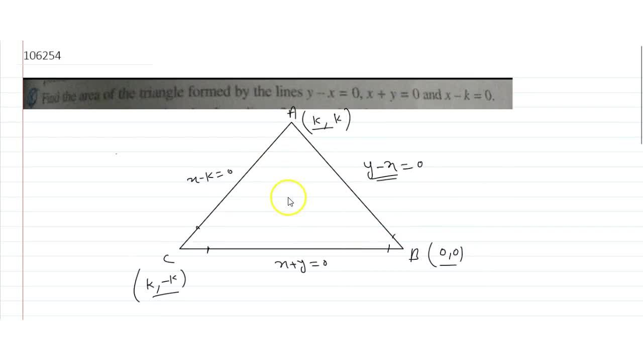 Find the area of the triangle formed theby lines y-x = 0, x+ y=0 and x-k= 0.