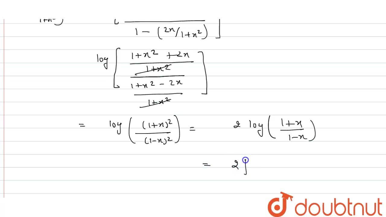 """Solution for If f(x)=""""log""""(1+x),(1-x) , then prove that: <br>"""
