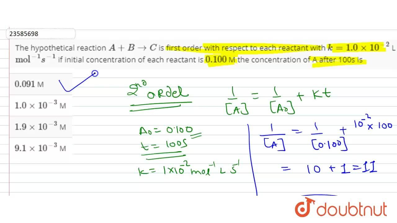 Solution for The hypothetical reaction A+B rarr C is first or