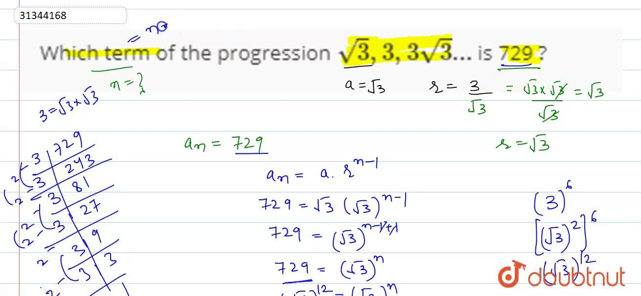 Which term of the progression sqrt(3),3,3sqrt(3)... is 729 ?