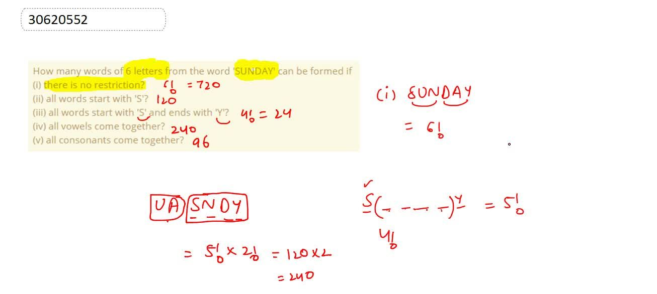 Solution for How many words of 6 letters from the word 'SUNDAY'