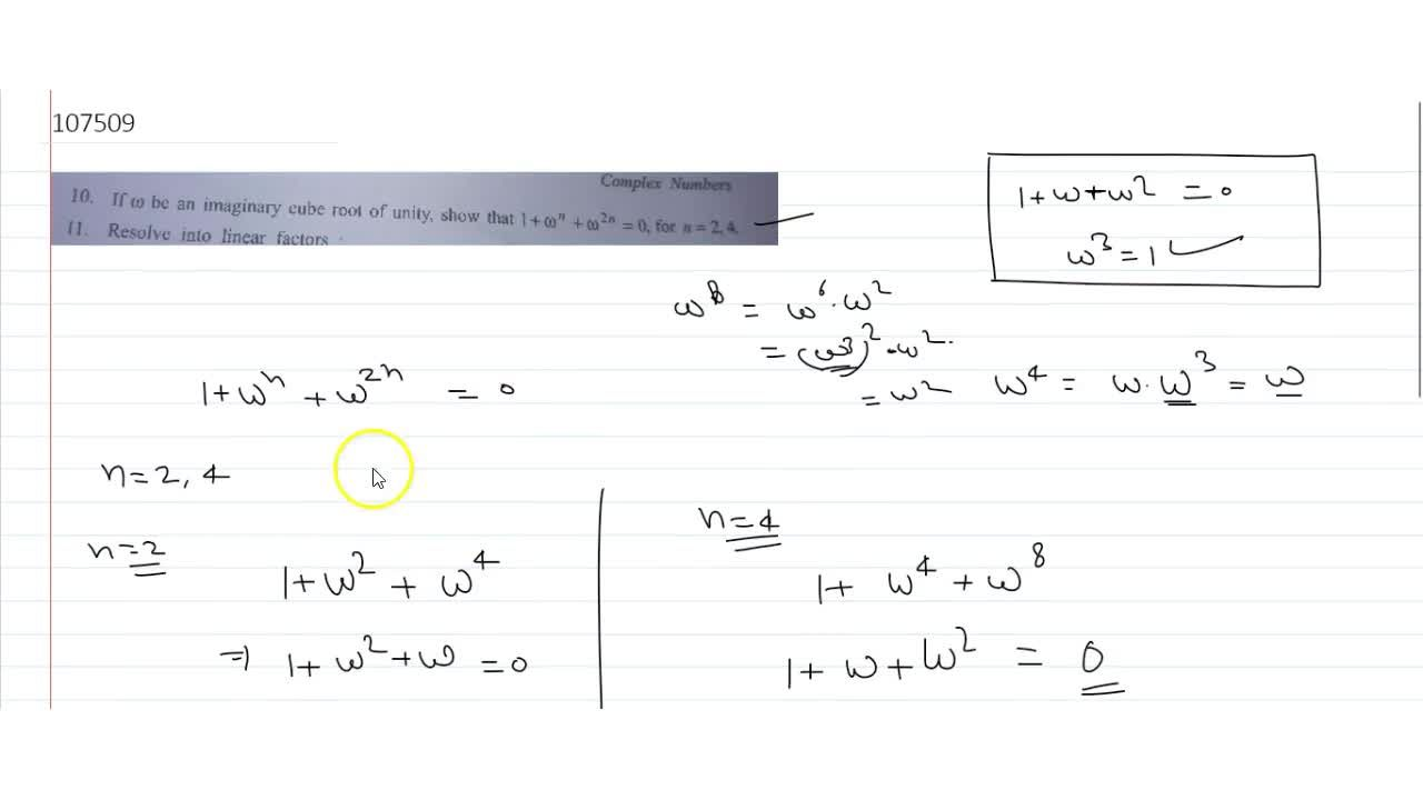 Solution for If w be an imaginary cube root of unity, show th