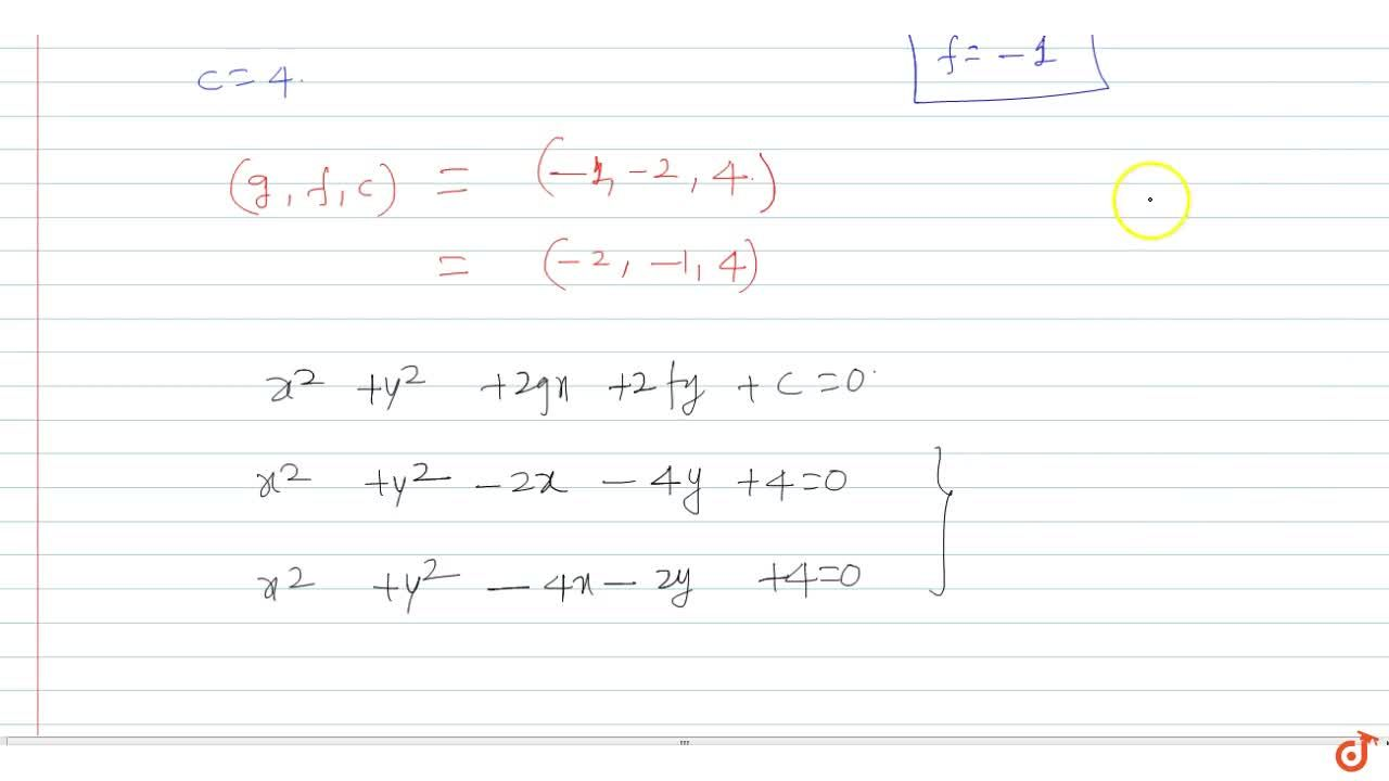 Solution for  Find the equation(s) of circle passing through th