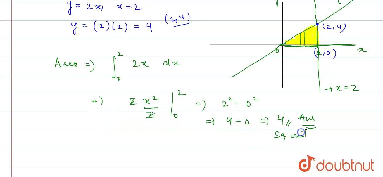 Find the area of the region bounded by the line y = 2x, X - axis and ordinate x = 2.