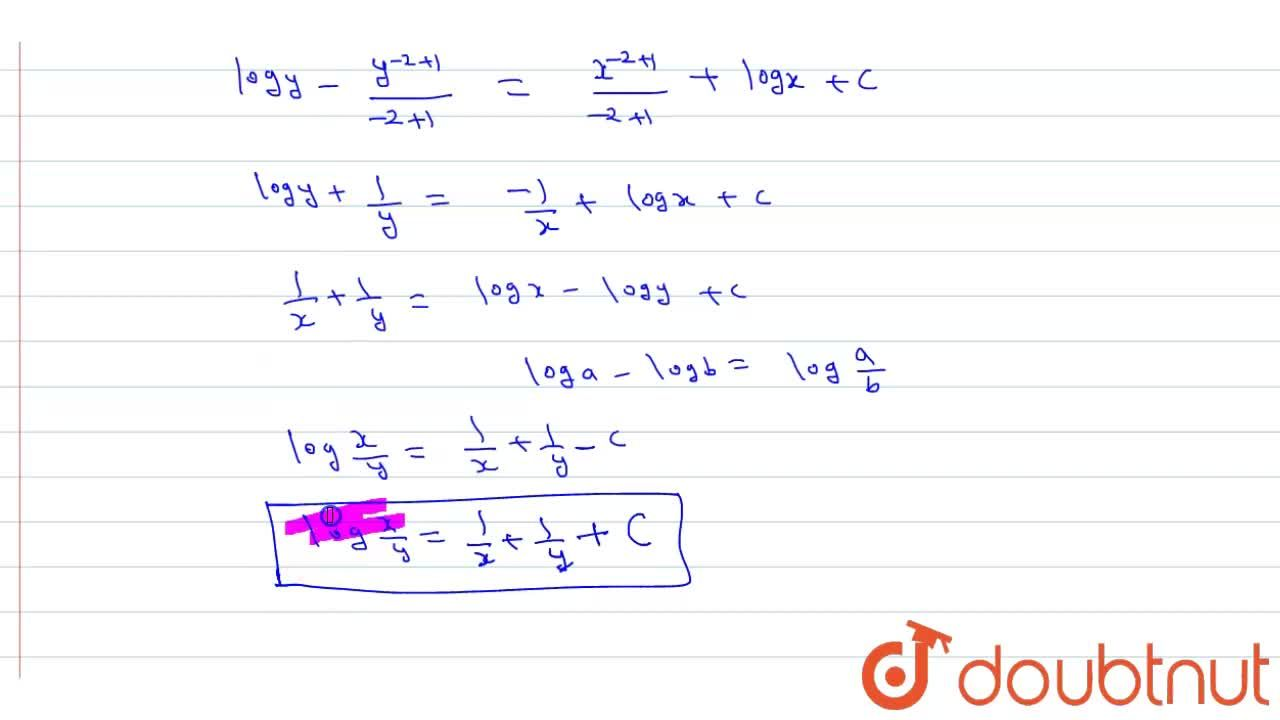 Solve the following differential equations <br> x^(2)(1-y)(dy),(dx)+y^(2)(1+x)=0