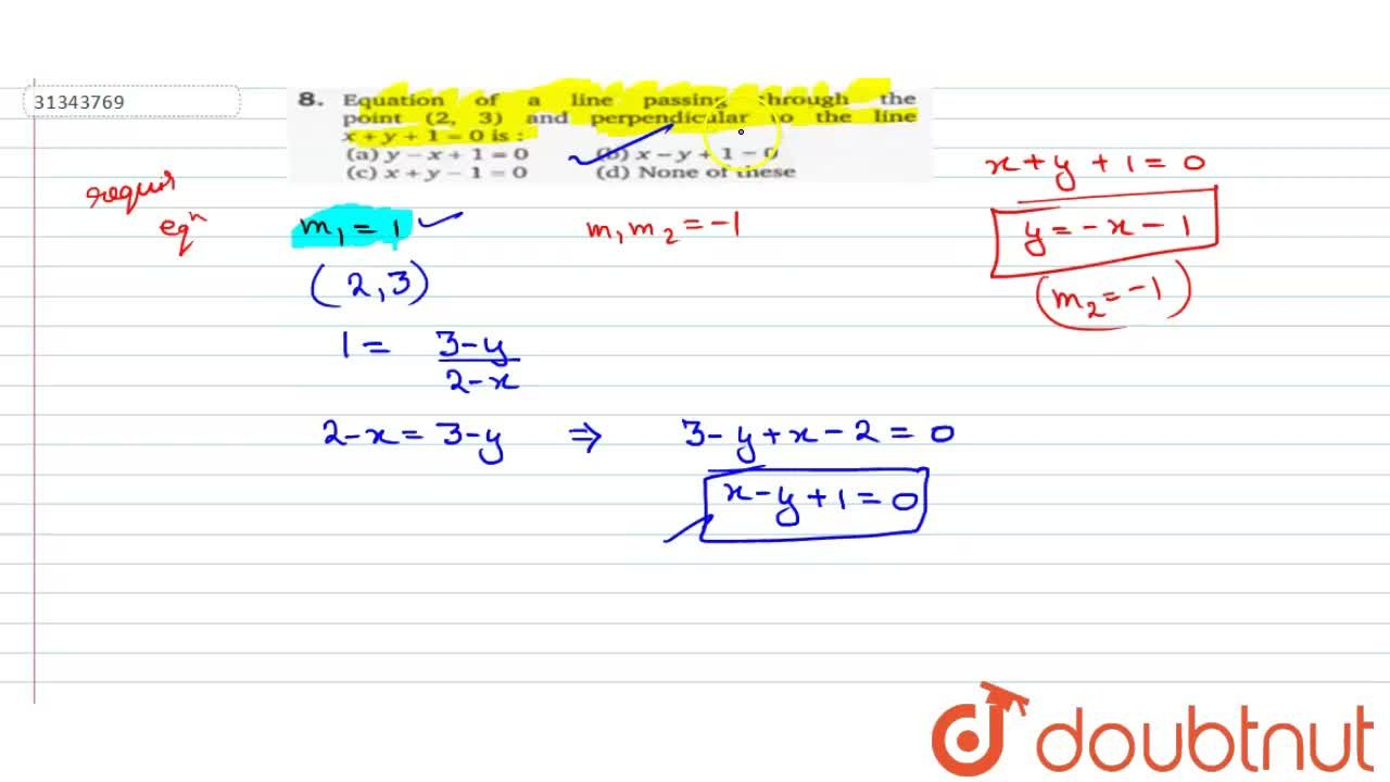 Solution for Equation of a line passing through the point (2,3