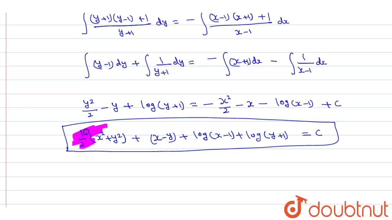 Solve the following differential equations <br> x^(2)(y+1)dx+y^(2)(x-1)dy=0