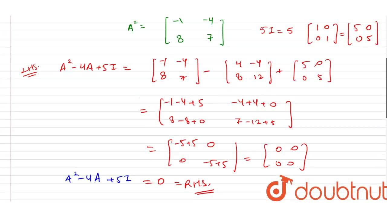 Solution for If A=[{:(1,-1),(2,3):}], shown that A^(2)-44+5I