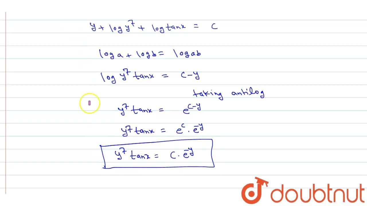 Solve the following differential equations <br> y sec^(2)x dx+(y+7)tanx dy=0