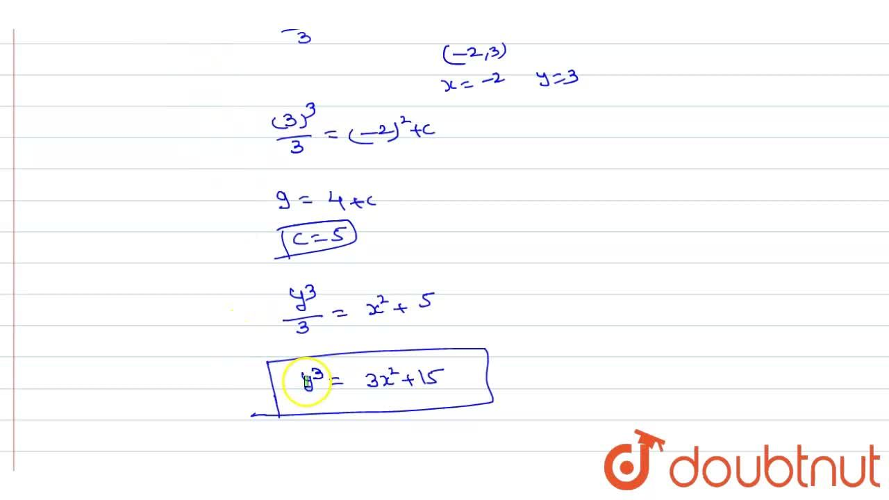 Solution for Find the equation of a curve, passes through (-2,