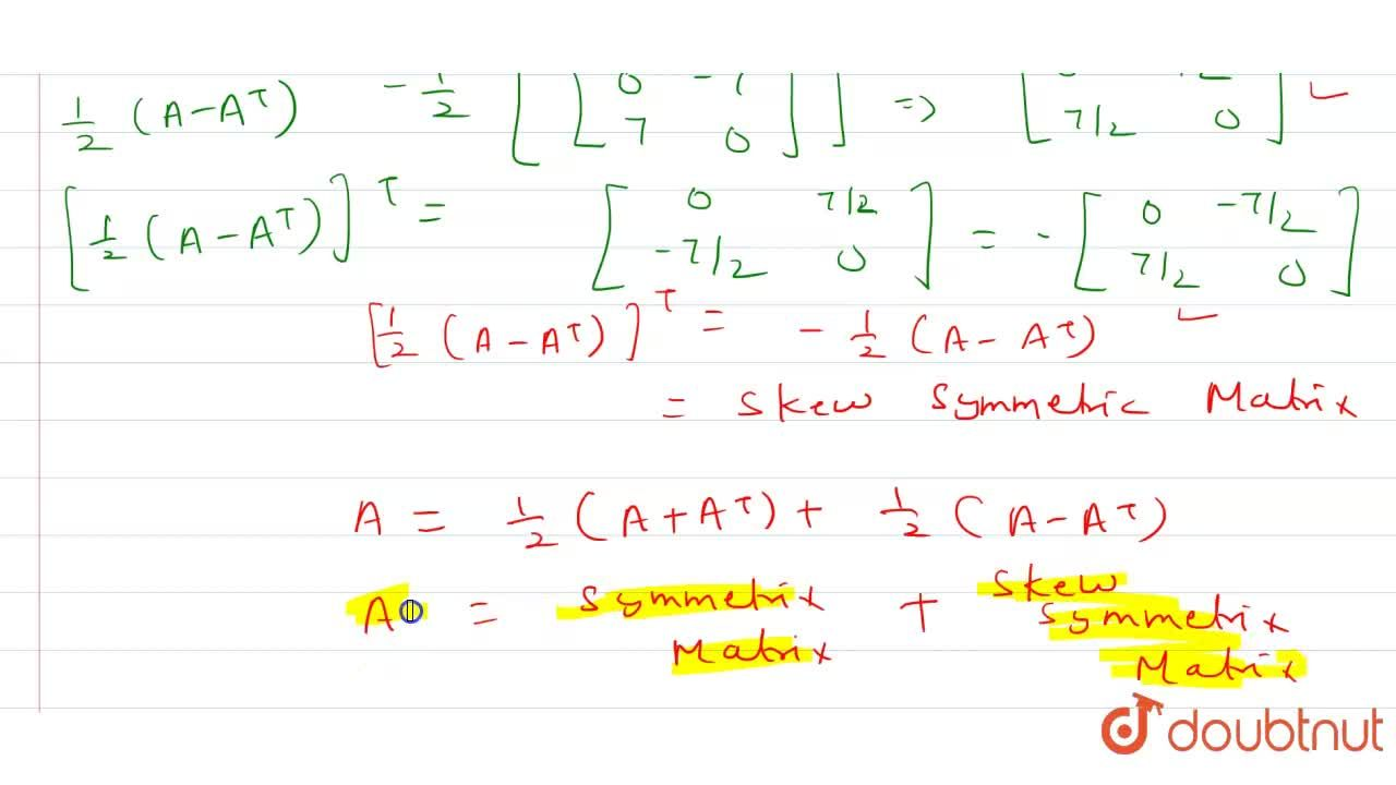 Solution for express the matrix A=[{:(1,-4),(3,0):}]as  a sum