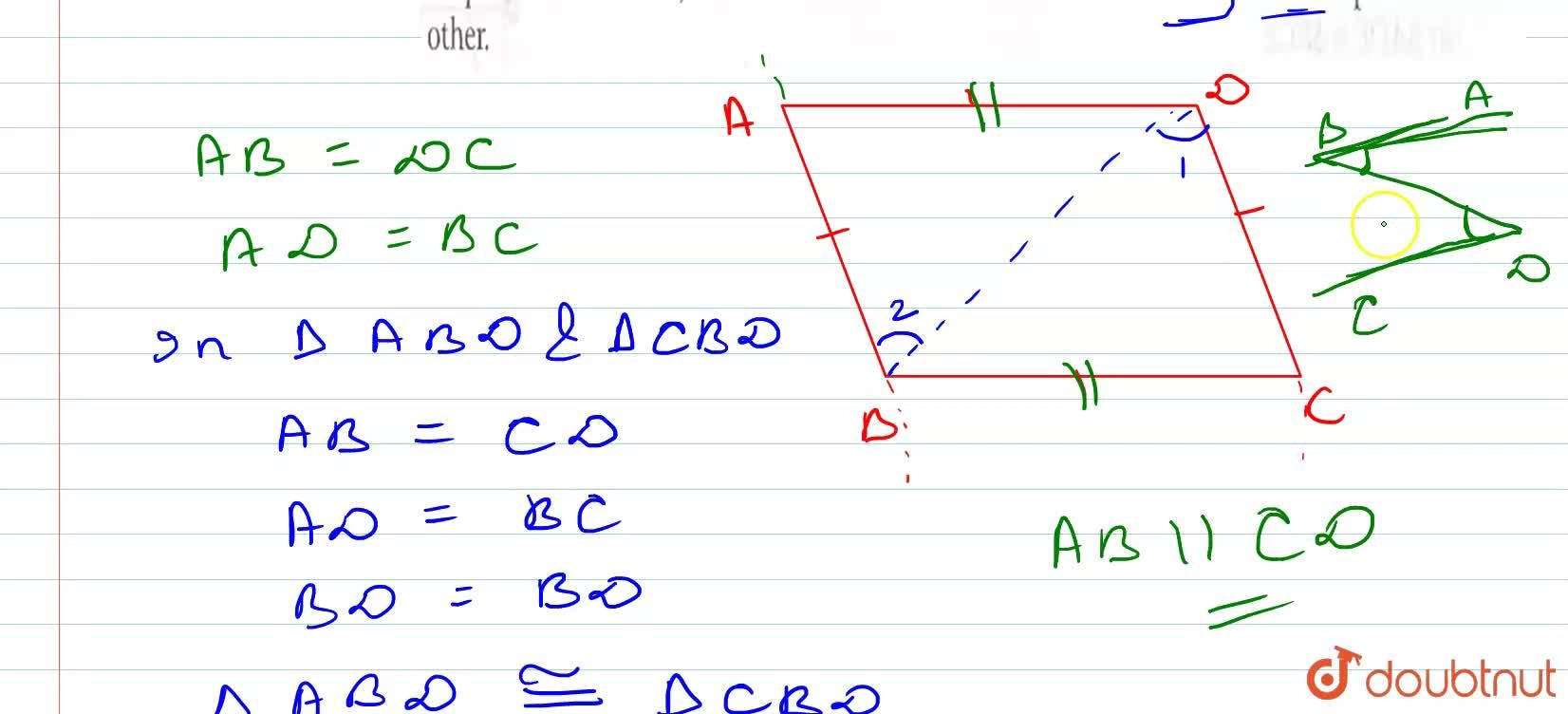 Solution for In quadrilateral ABCD, AB=DC and AD=BC. Prove that