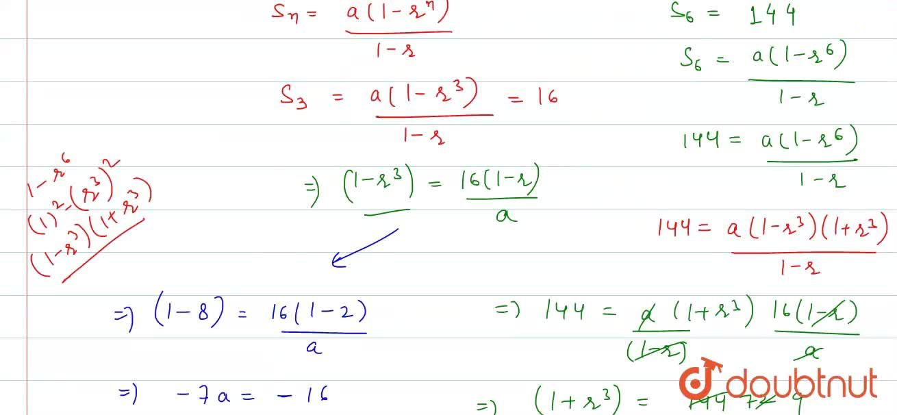 Solution for The sum of first three terms of a G.P is 16 and th