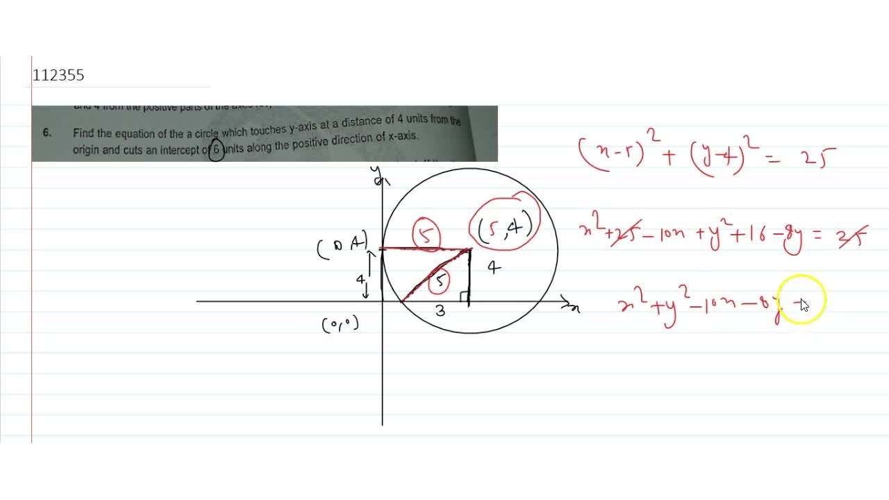 Solution for Find the equation of the a circle which touches y-