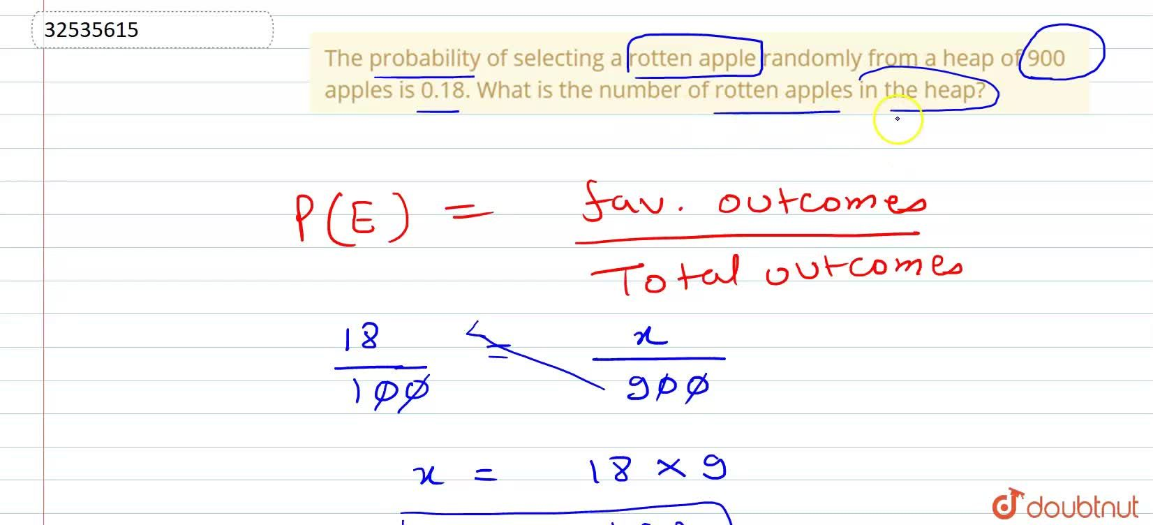 Solution for The probability of selecting a rotten apple random