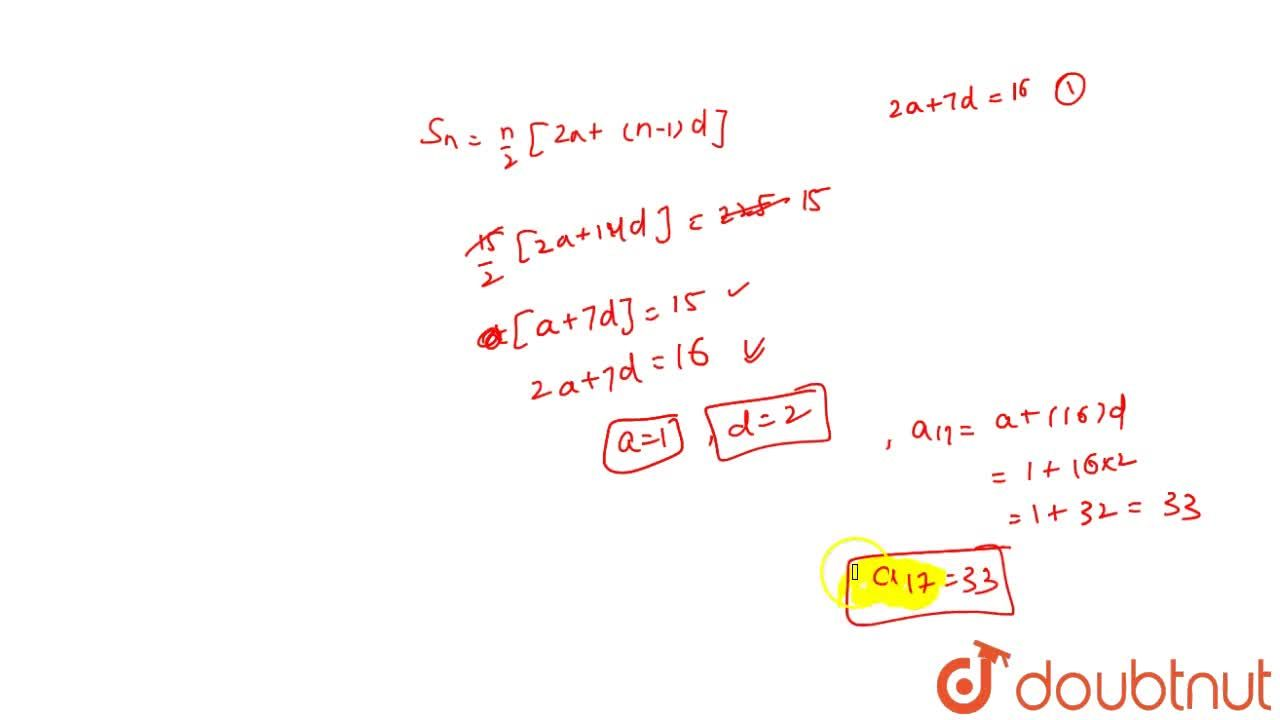 Solution for The sum of first 8 terms of an A.P. is 64 and that