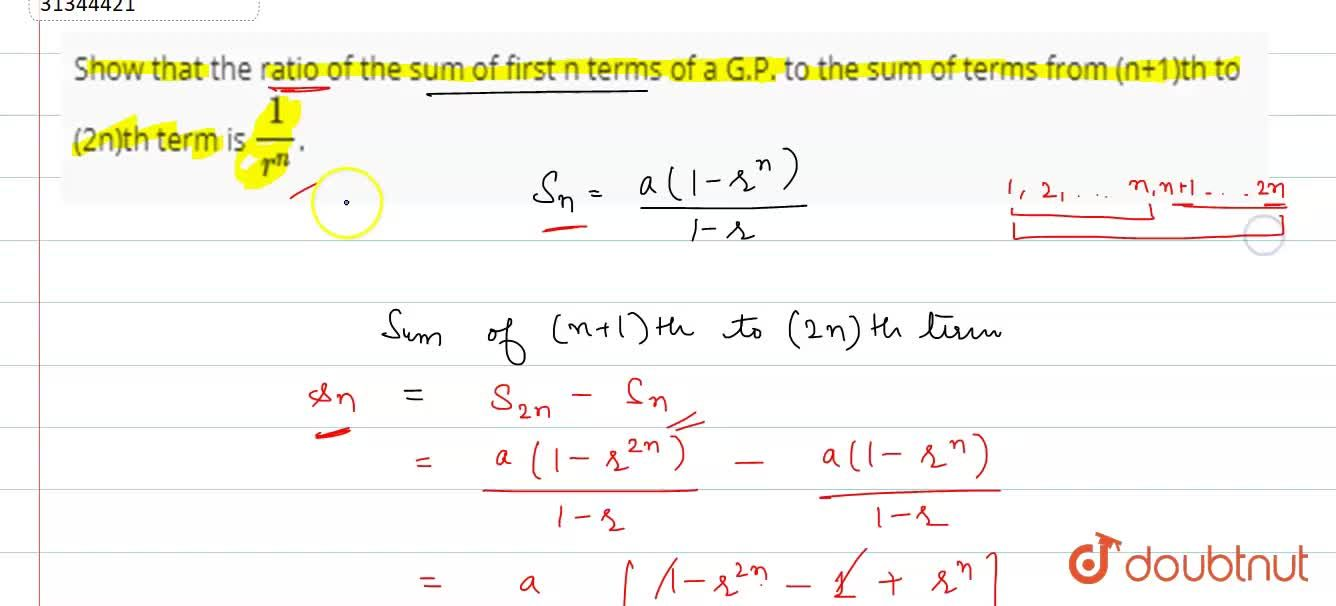 Solution for Show that the ratio of the sum of first n terms of
