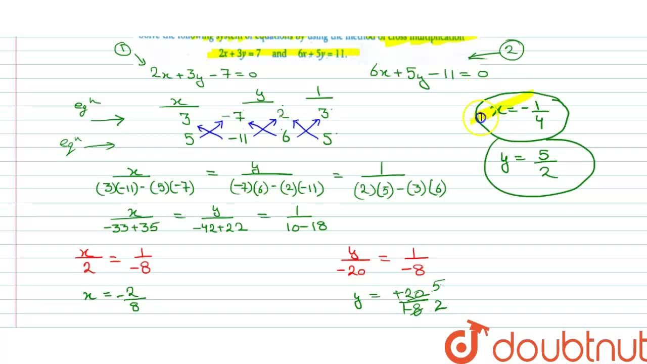 Solution for Solve the following system of equations by using t