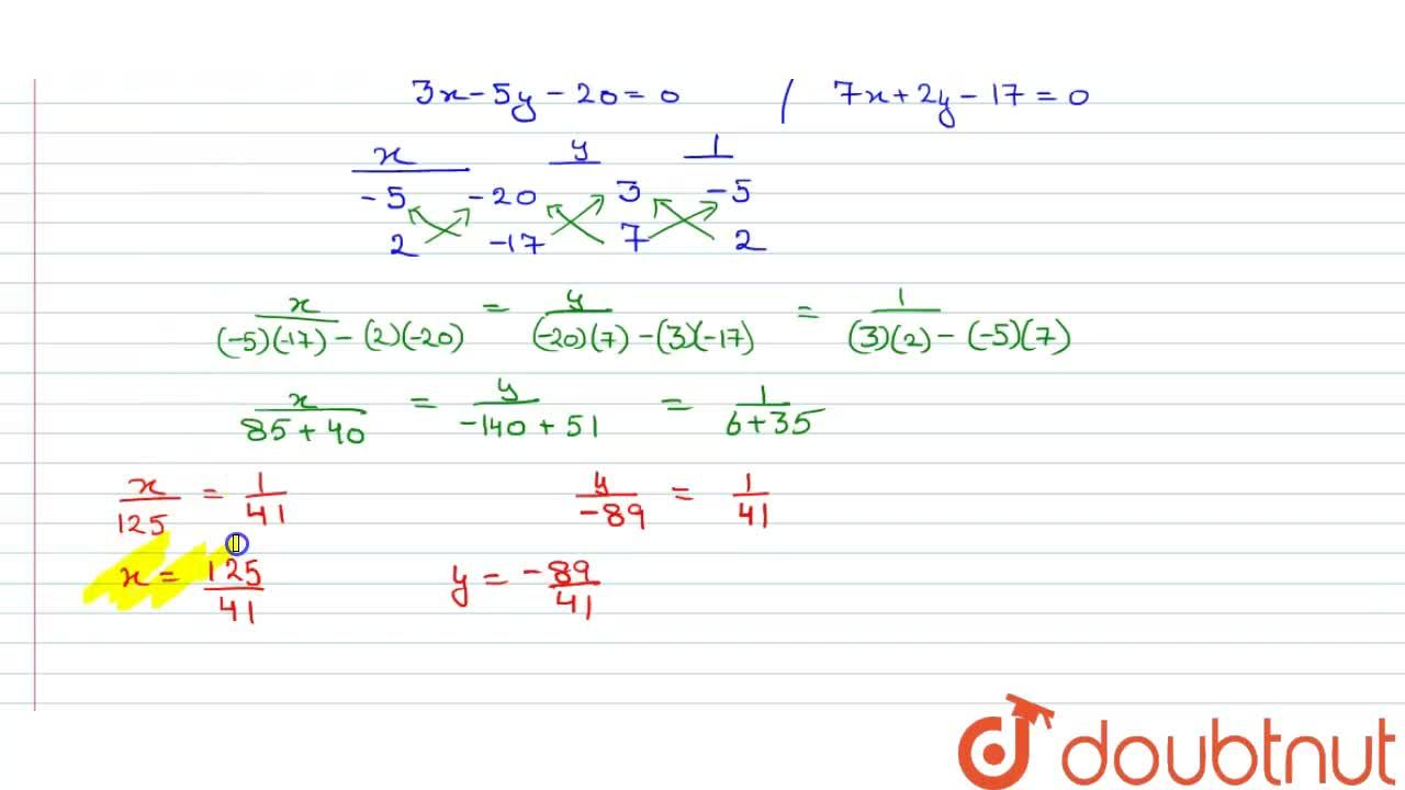 Solution for Solve the following system of equations by cross m