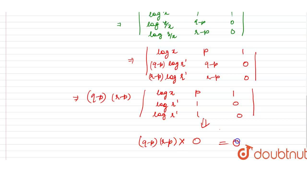 Solution for If the pth, qth and rth terms of a G.P, are x,y an